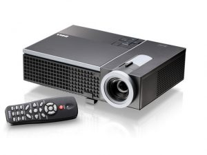 1610HD Projector with remote featured on white background.